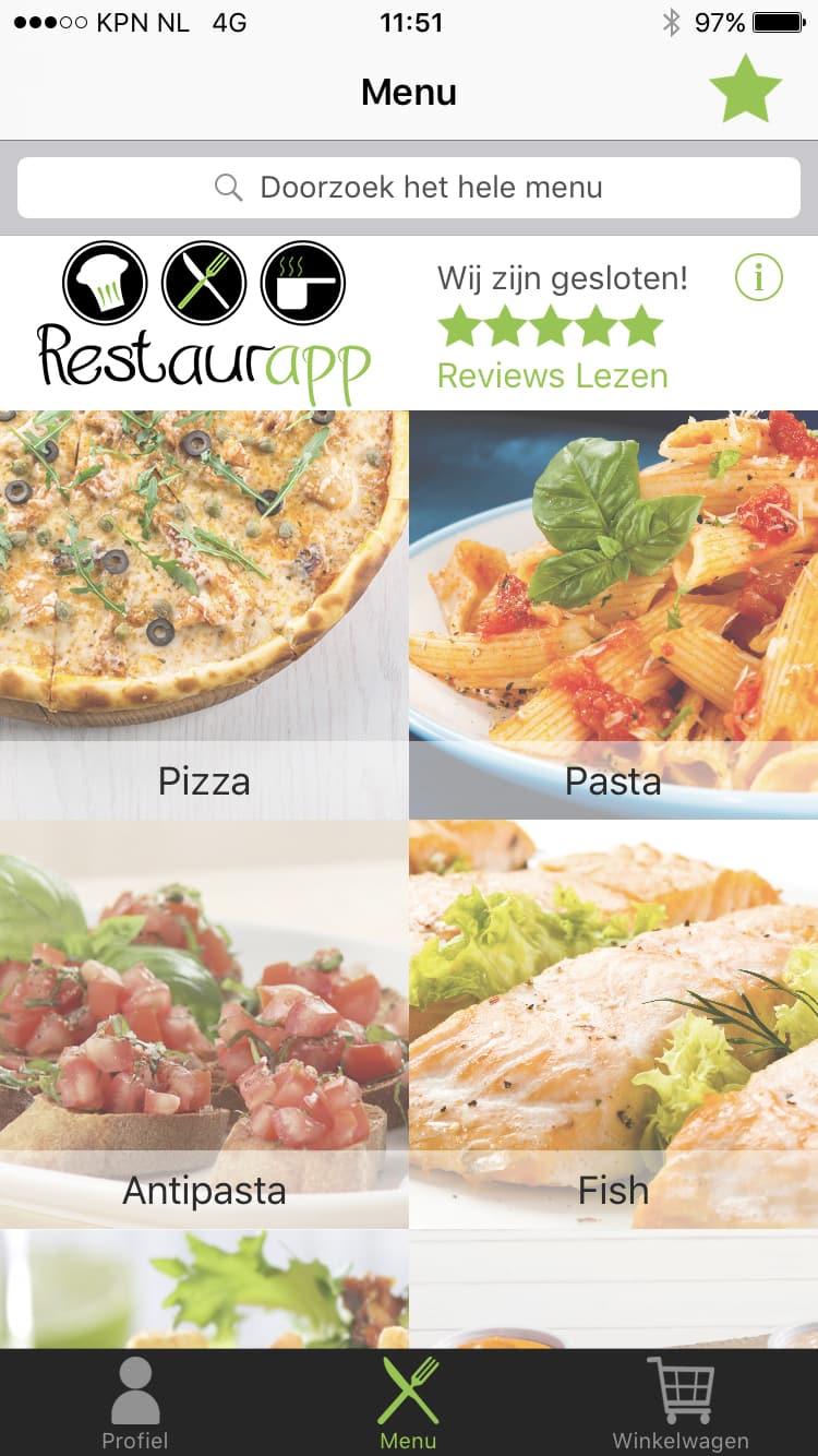 Hoofdmenu van Restaurapp met het categorieën overzicht