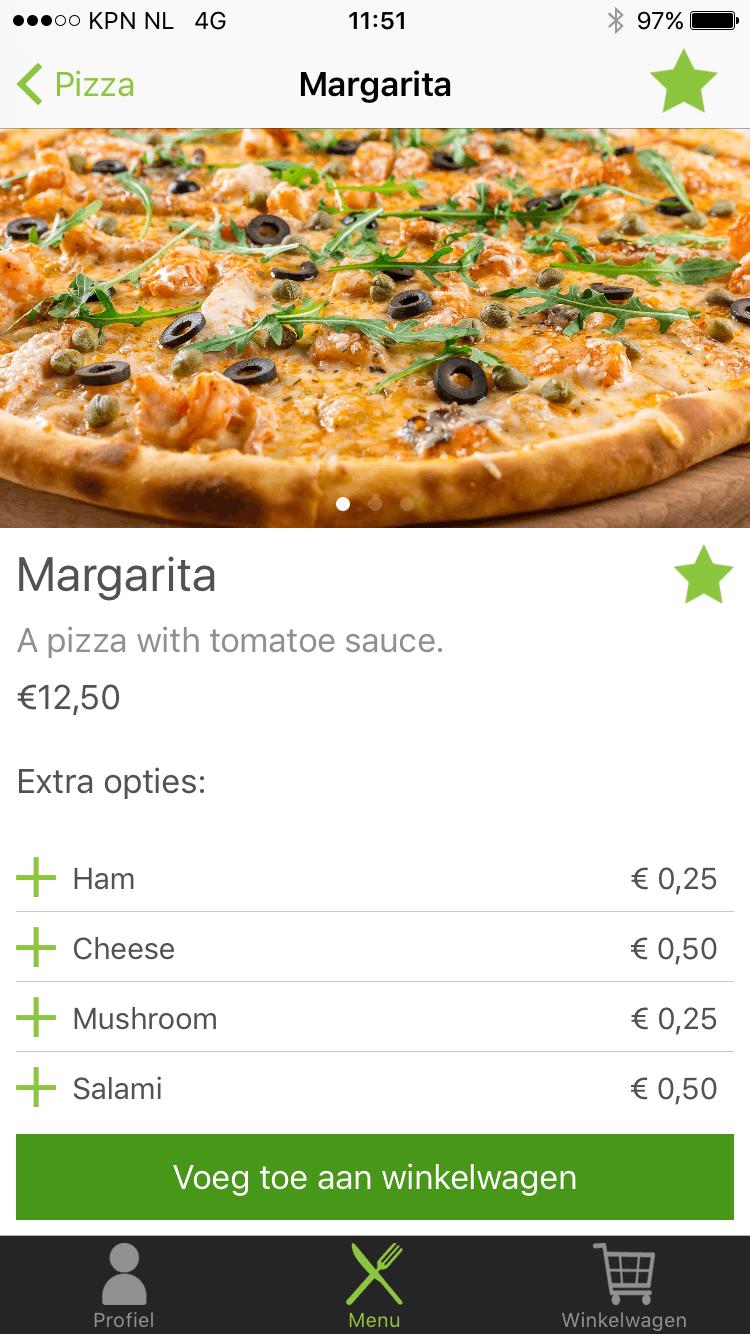 Een productpagina van een pizza met extra opties in Restaurapp