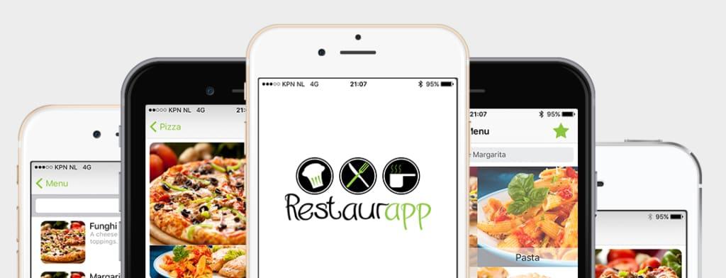 Hoofdbanner Restaurapp met verschillende pagina delen van de app op iPhones
