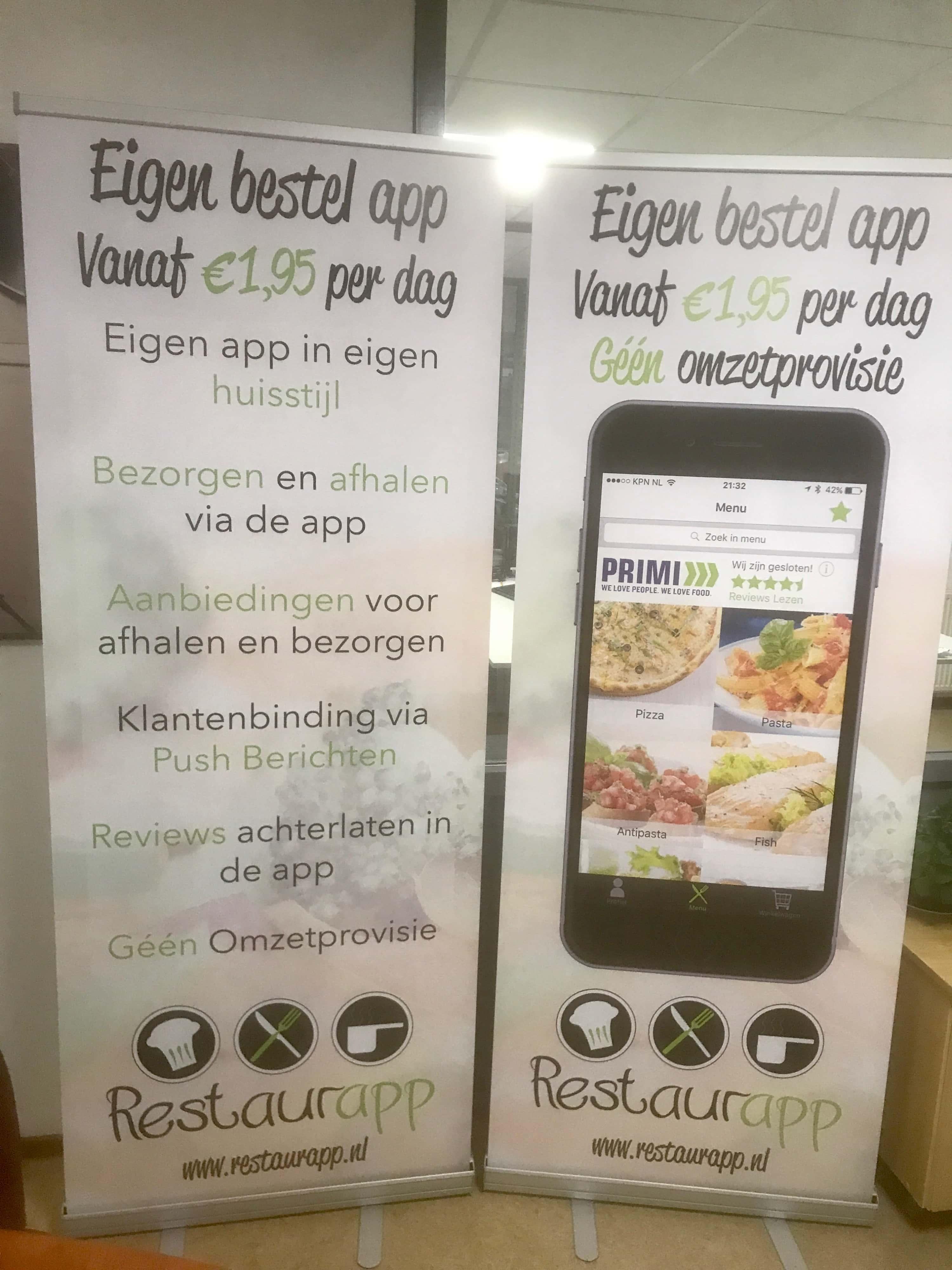 Restaurapp banners met de eigen bestel app en extra informatie