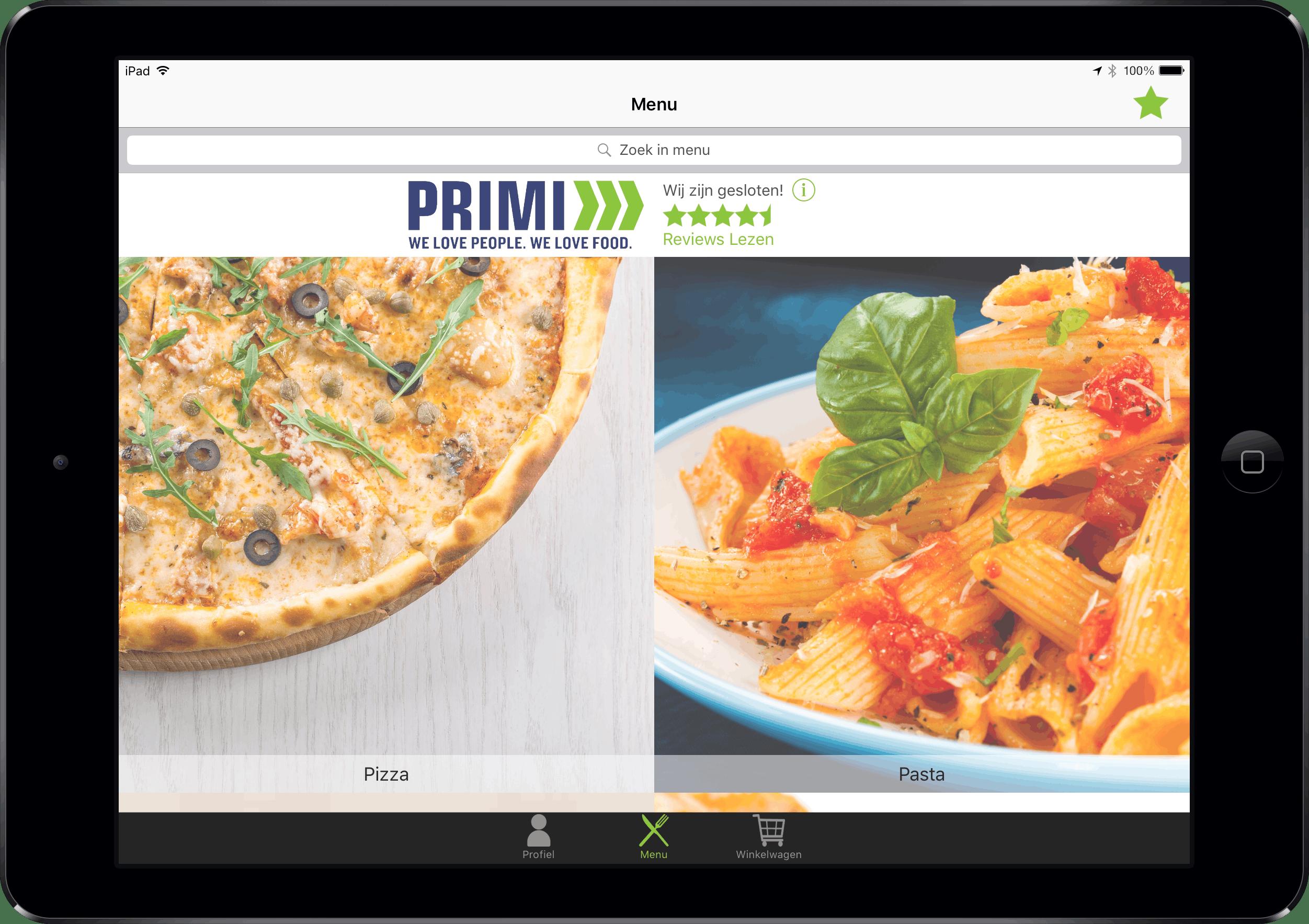 Hoofdmenu van Restaurapp met het categorieën overzicht op iPad