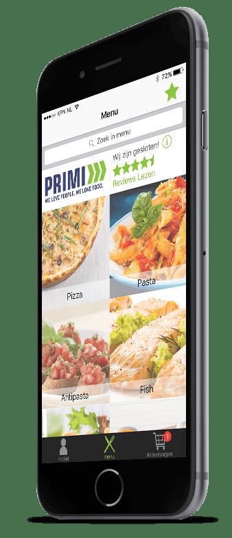 Hoofdmenu van Restaurapp met het categorieën overzicht op iPhone
