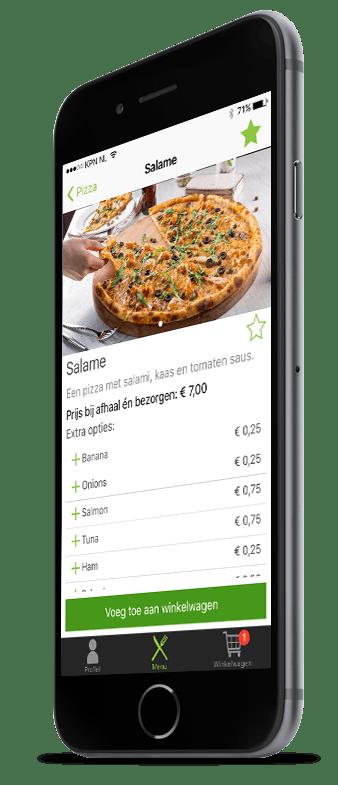 Een productpagina van een pizza met extra opties in Restaurapp op iPhone