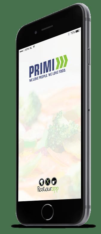 Inlogscherm van Restaurapp met het Primi Piatti logo op iPhone