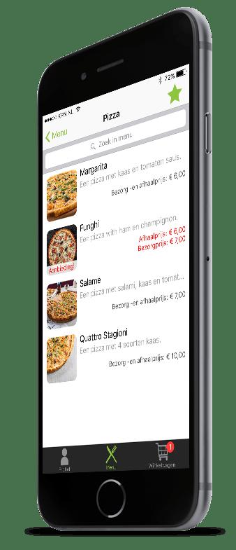 Een categoriepagina van pizza's in Restaurapp