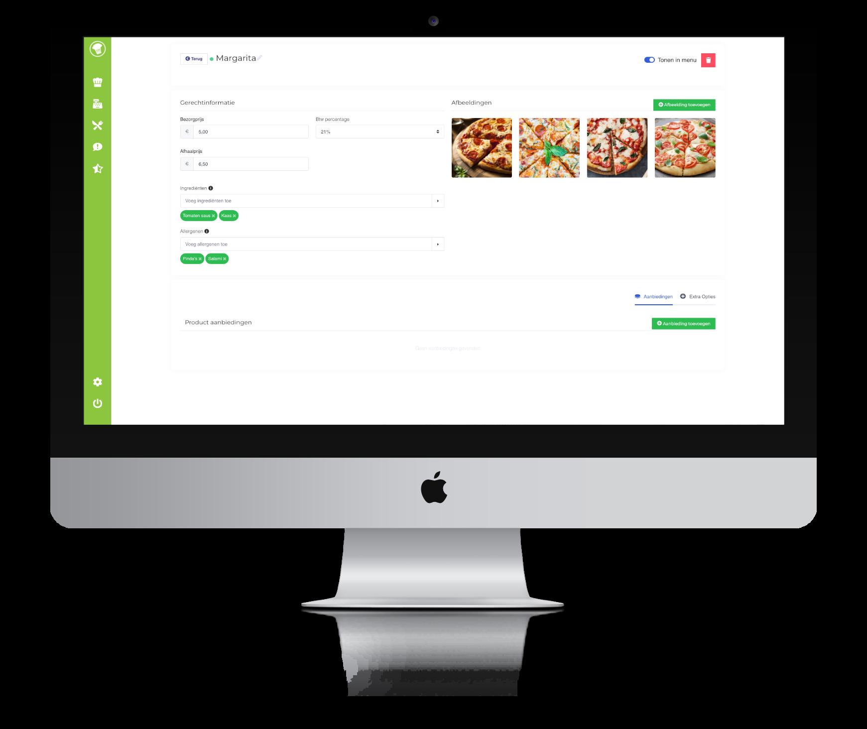 Screenshot van de pagina om gerechten te bewerken