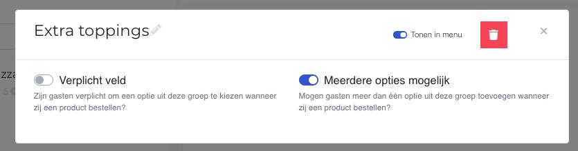 Screenshot van het instellingen scherm voor een extra opties goep.