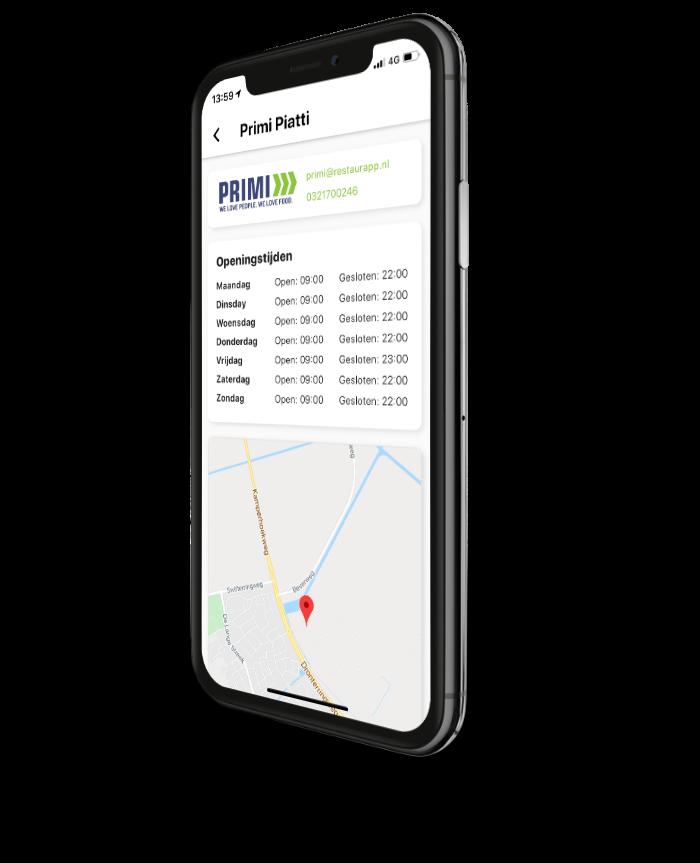 Screenshot restaurant informatie Restaurapp