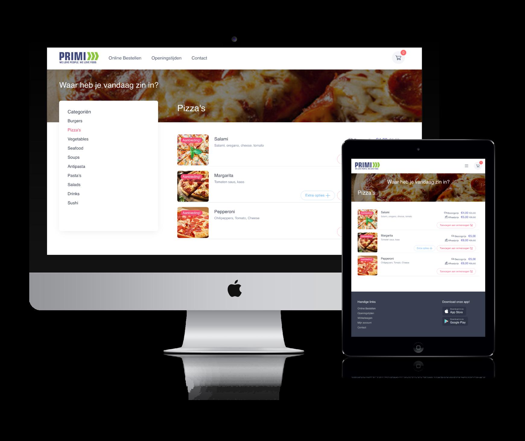 Screenshot van een restaurant bestelsite geleverd door Restaurapp op een computer en een ipad.