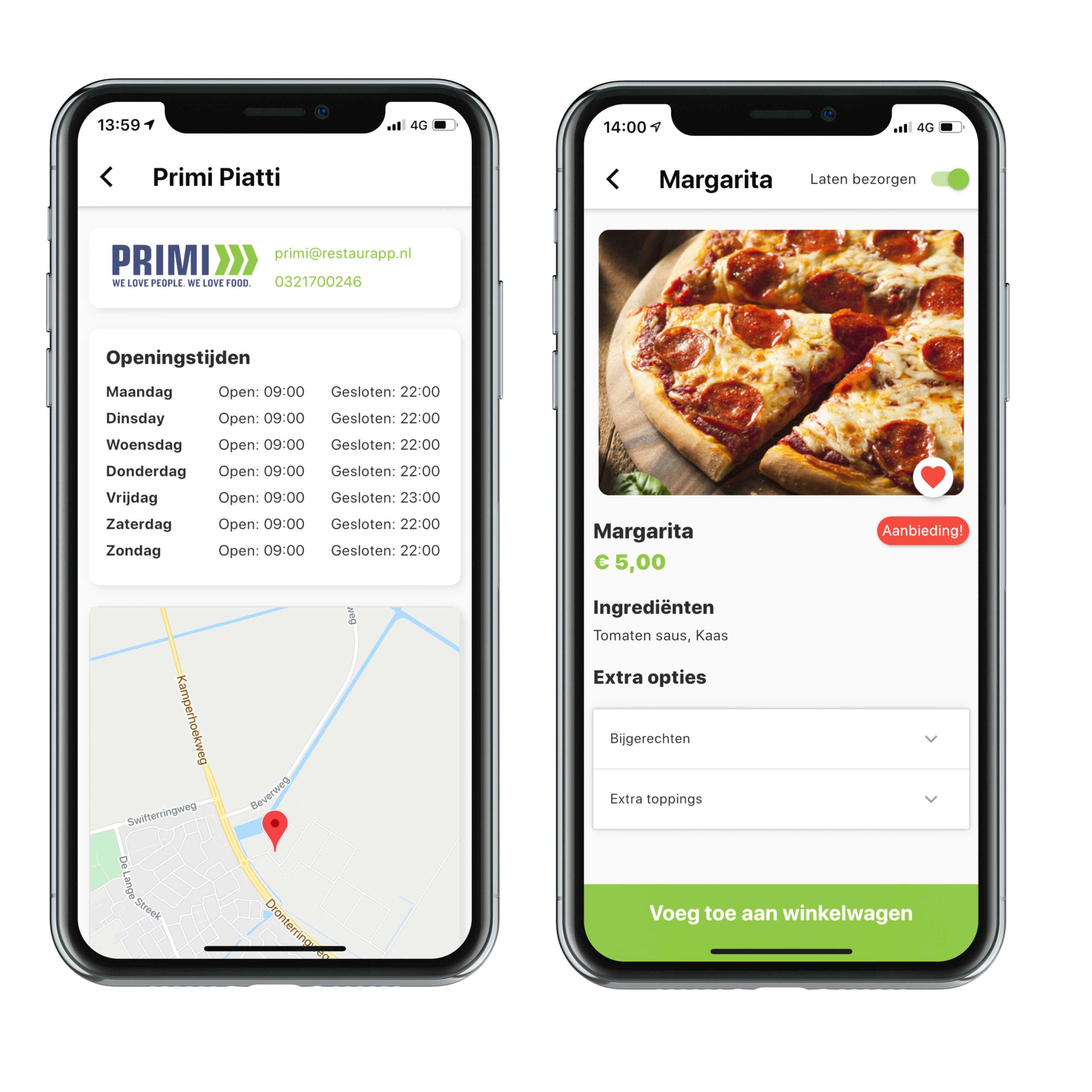 Screenshot van openingstijden en gerecht in restaurant app