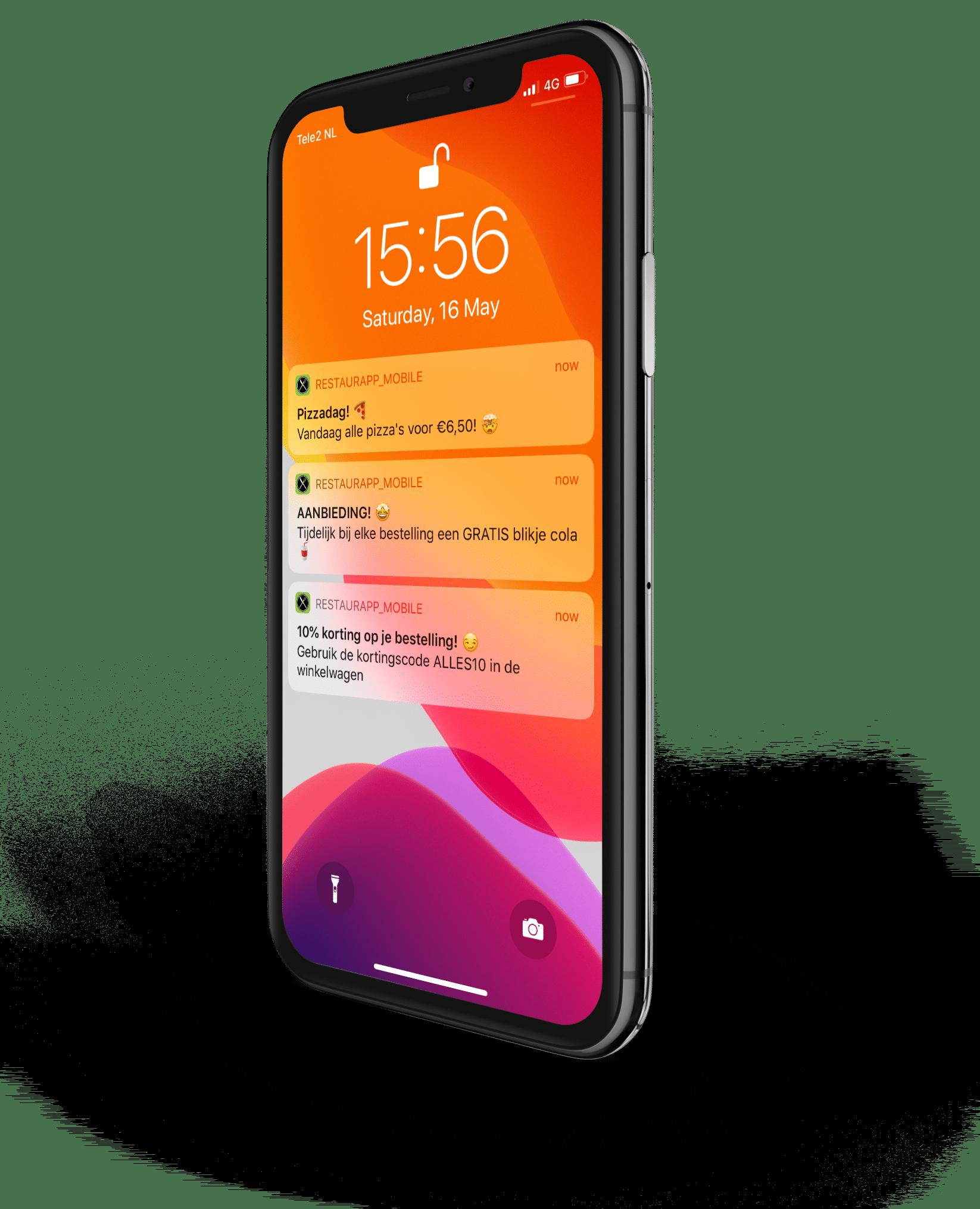 Screenshot Iphone X met pushbericht van restaurant